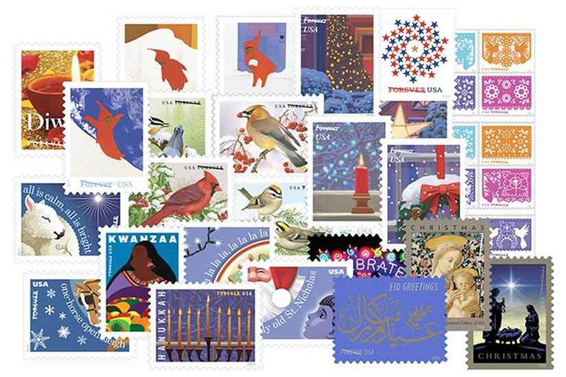 the us postal service has unveiled a variety of holiday themed forever stamps