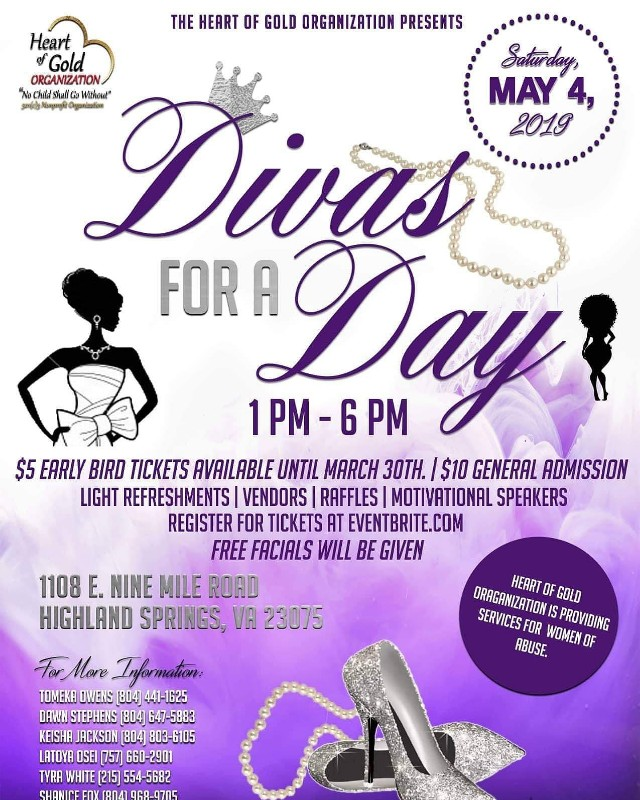 """The Heart of Gold Organization presents """"Divas for a Day"""" in"""